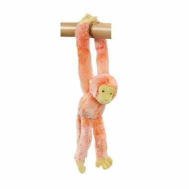 Hangend knuffel aapje oranje 32 cm