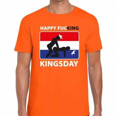 Happy fucking kingsday t-shirt oranje heren