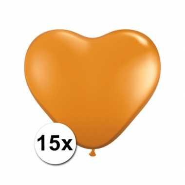 Hart ballonnen oranje 15 stuks