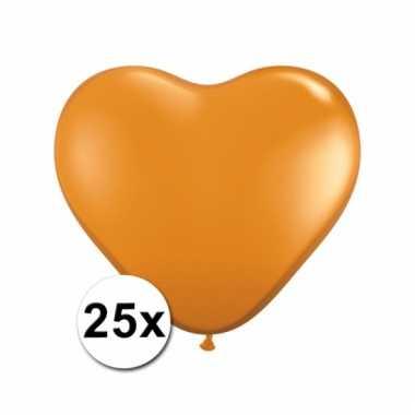 Hart ballonnen oranje 25 stuks