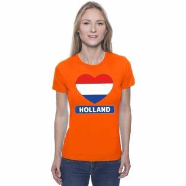 Hart hollandse vlag shirt oranje dames