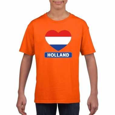 Hart hollandse vlag shirt oranje kinderen