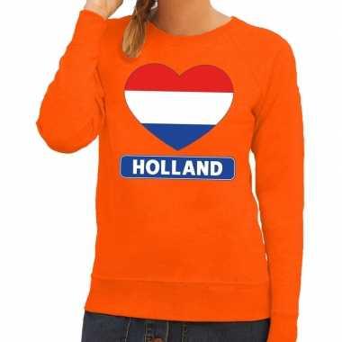Hart hollandse vlag sweater oranje dames