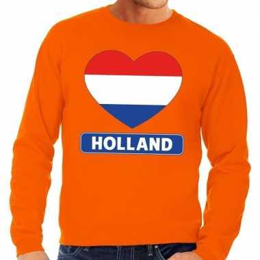 Hart hollandse vlag sweater oranje heren en dames