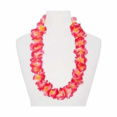 Hawaii krans roze/oranje