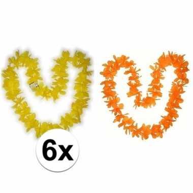 Hawaiikransen pakket oranje en geel 6x