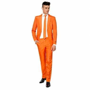 Heren kostuum oranje met stropdas