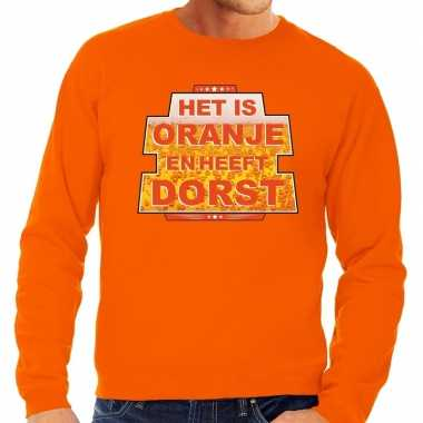 Het is oranje en heeft dorst sweater oranje heren