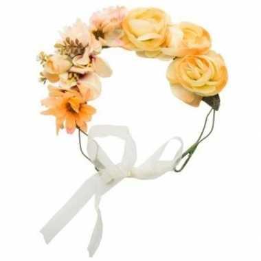 Hippie oranje bloemenkransen voor dames