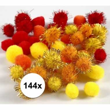 Hobby pompons 15-20 mm geel/oranje/rood