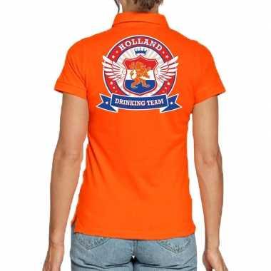 Holland drinking team polo t-shirt oranje met kroon voor dames