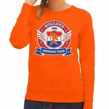 Holland drinking team sweater oranje dames