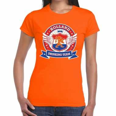 Holland drinking team t-shirt oranje dames