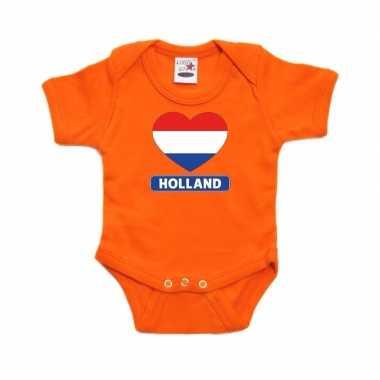 Holland hart vlag rompertje oranje babies