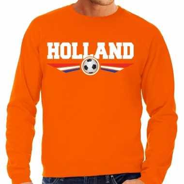 Holland landen / voetbal trui met wapen in de kleuren van de nederlandse vlag oranje voor heren