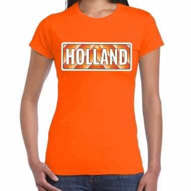 Holland / nederlands elftal supporter t-shirt oranje voor dames