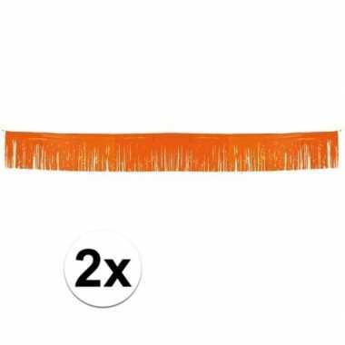 Holland slingers oranje met franjes 2 stuks