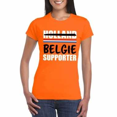 Holland supporter die overloopt naar belgie shirt oranje dames