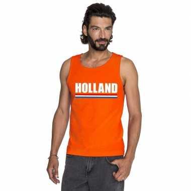 Holland supporter mouwloos shirt oranje heren
