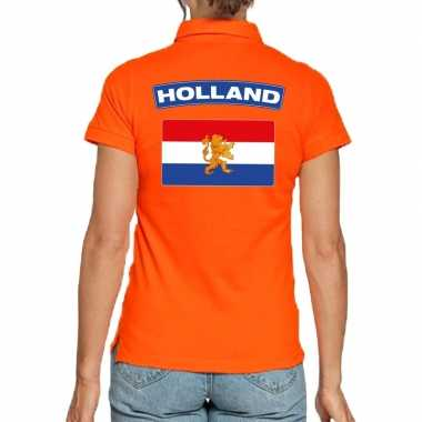 Holland supporter polo t-shirt oranje kingsday voor dames