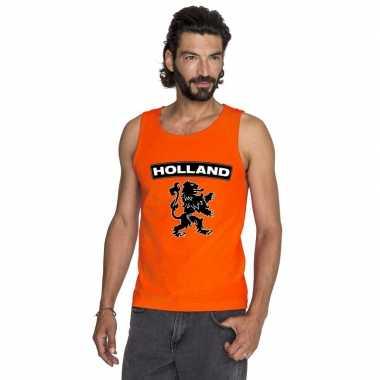 Holland zwarte leeuw mouwloos shirt oranje heren