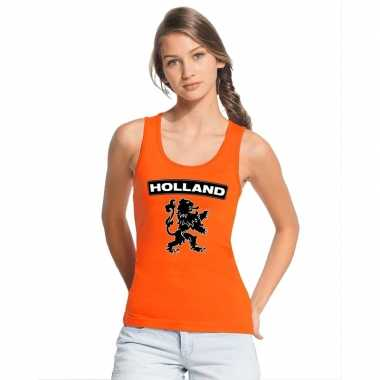 Holland zwarte leeuw topje/shirt oranje dames