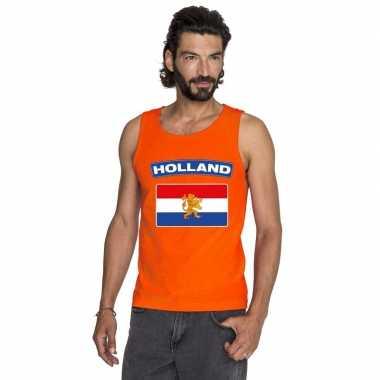 Hollandse vlag mouwloos shirt oranje heren