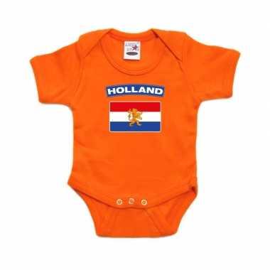 Hollandse vlag rompertje oranje babies