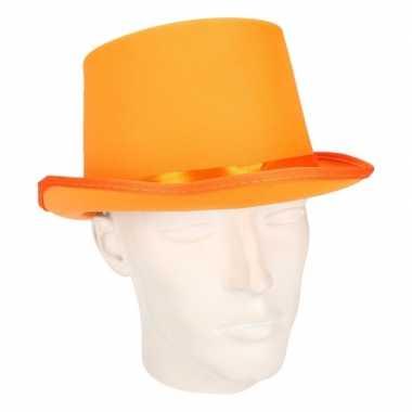 Hoog hoedje oranje voor volwassenen