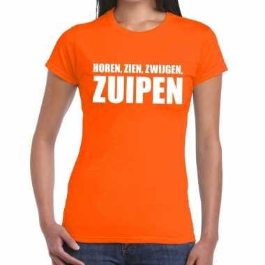 Horen zien zwijgen zuipen fun t-shirt oranje voor dames