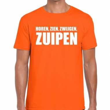 Horen zien zwijgen zuipen fun t-shirt oranje voor heren