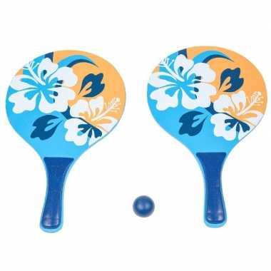 Houten beachball set blauw/oranje met bloemen print