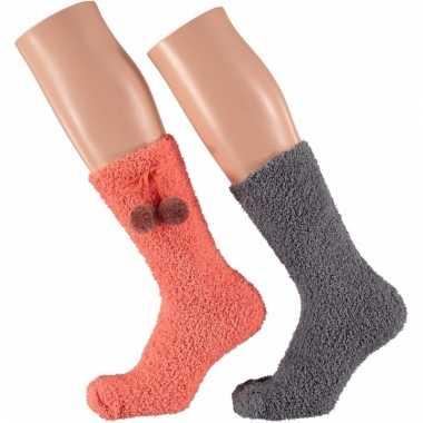 Huis bank dames sokken koraal oranje en grijs