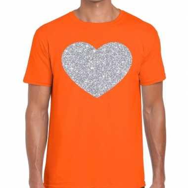 I love fun t-shirt oranje met zilveren bedrukking voor heren
