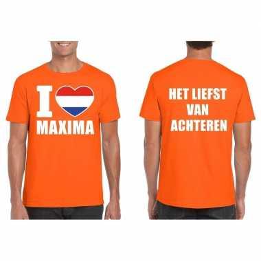 I love maxima van achteren shirt oranje heren