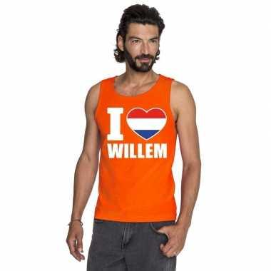 I love willem mouwloos shirt oranje heren