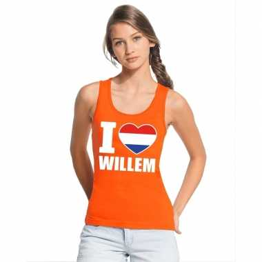 I love willem topje/shirt oranje dames