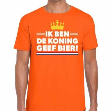 Ik ben de koning geef bier t-shirt oranje heren