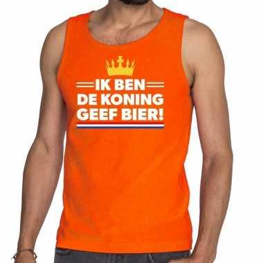 Ik ben de koning geef bier tanktop / mouwloos shirt oranje heren
