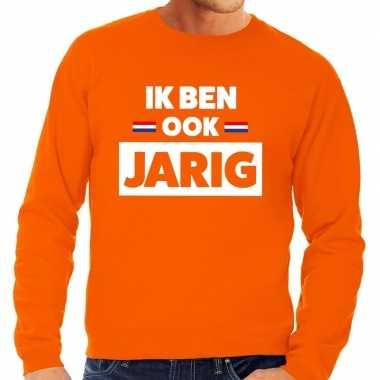 Ik ben ook jarig sweater oranje heren