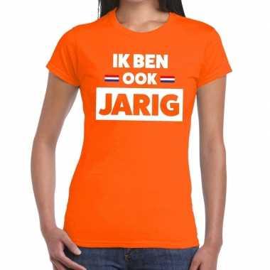 Ik ben ook jarig t-shirt oranje dames
