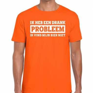 Ik heb een drankprobleem t-shirt oranje heren
