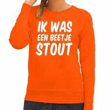 Ik was een beetje stout sweater oranje dames