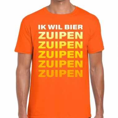 Ik wil bier zuipen fun t-shirt oranje voor heren