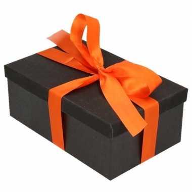 Kado doosje zwart glitter 24 cm en oranje kado lint