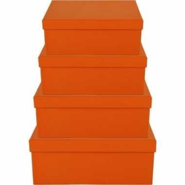 Kado doosjes oranje 17 cm rechthoek