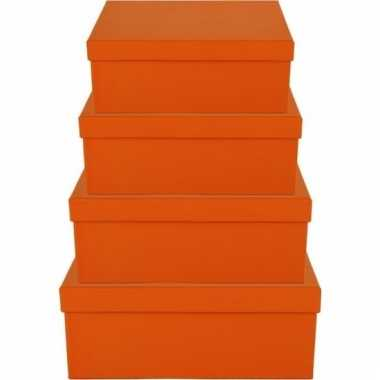 Kado doosjes oranje 8 cm rechthoek