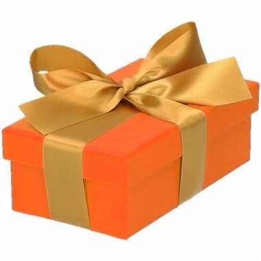 Kado doosjes oranje met gouden strik 10 cm rechthoekig
