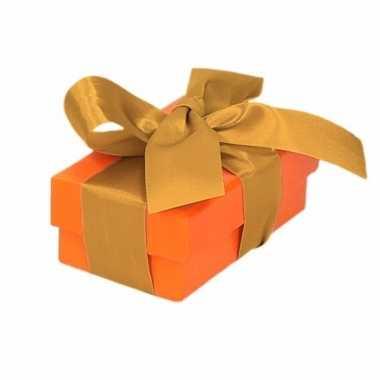 Kado doosjes oranje met gouden strik 8 cm rechthoekig