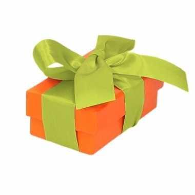 Kado doosjes oranje met lichtgroene strik 8 cm rechthoekig